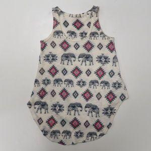 Gaze USA Elephant Print Pull Over Knit Tank Top